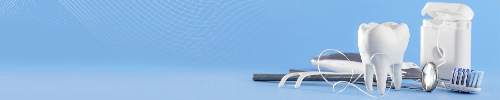 Illustration eines Zahns mit Zahnseide, Dentalspiegel und Zahnbürste