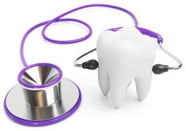 Illustration eines Stethoskops, dass einen Zahn abhört